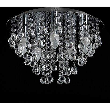 Round Chrome Acrylic Jewel Chandelier Crystal Cut Droplet Flush Ceiling Light - No Bulb