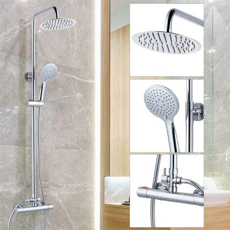Round Chrome Thermostatic Dual Control Twin Head Shower Mixer Ultra Thin + Kit