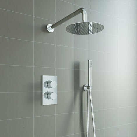 Round Chrome Thermostatic Shower Mixer Bathroom Concealed Twin Head Valve Set