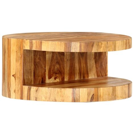 Round Coffee Table 65x30 cm Solid Sheesham Wood