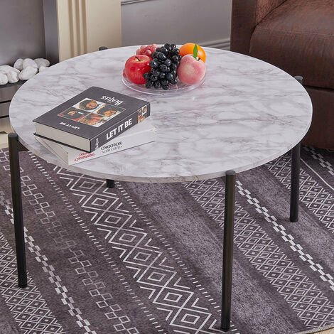 Round Coffee Table Dia.80cm Marble Effect Living Room Unit with Black Metal Legs