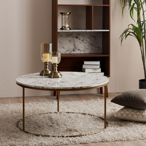 """main image of """"Round Coffee Table Modern Design Faux Marble Brass Marmo Versanora VNF-00075"""""""