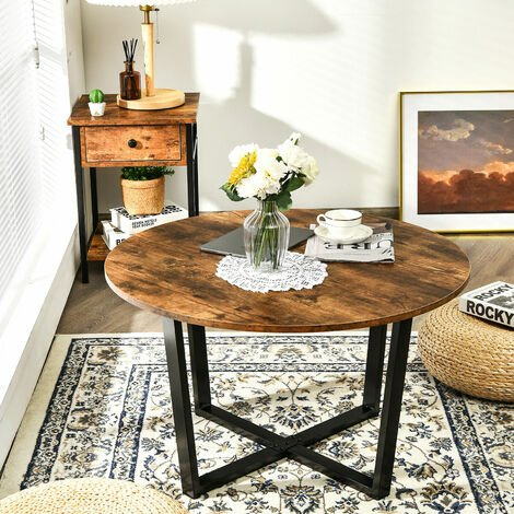 """main image of """"Round Coffee Table Modern Leisure Tea Table Industrial End Table Adjustable Pads"""""""