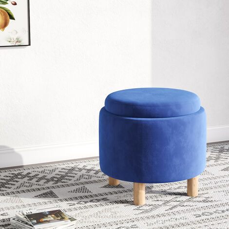 """main image of """"Round Coffee Table Stool Storage Ottoman Box Footstool Double Side Cover Pouffe"""""""