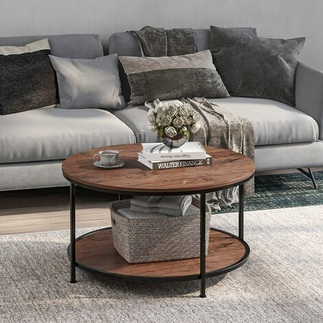 Round Coffee Table, Tea End Table Industrial Style Cocktail Table