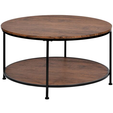 Round Coffee Table, Tea End Table Industrial Style Cocktail Table, TV Stand Table Durable Metal Frame, for Living Room, Rustic Brown