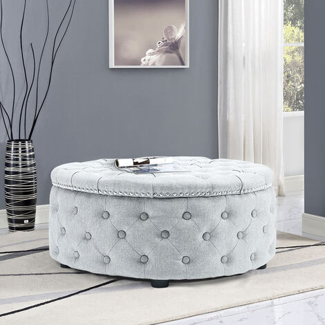 """main image of """"Round Coffee Table Upholstered Chesterfield Ottoman Footstool Pouffe Foot Stool Seat, Light Grey"""""""