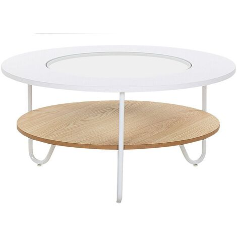 Round Coffee Table White Top with Glass Hairpin Legs Light Wood Shelf Chico