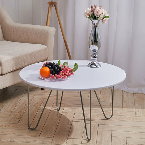 Round Coffee Tea Tables Side Table with Metal Hairpin Legs Living Room Furniture
