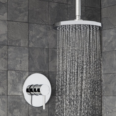 Round Concealed Shower Ceiling Fixed Shower Head Single Lever