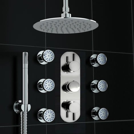 Round Concealed Thermostatic Ceiling Valve Mixer Shower Massage Body Jets Set
