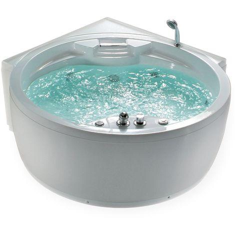 Round Corner Bathtub with LED White MILANO II