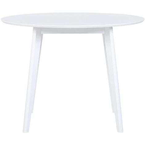 Round Dining Kitchen Table MDF Top 100 cm White Wooden Legs Roxby