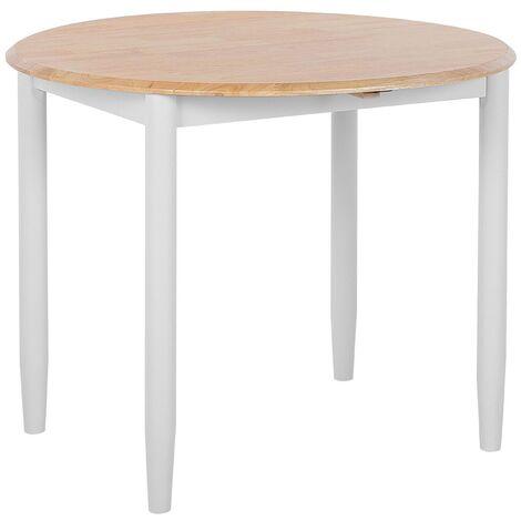 Round Dining Table ø 92 cm Light Wood with Light Grey OMAHA