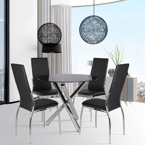 Round Dining Table Glass Top Chrome Legs With 2/4 Chairs