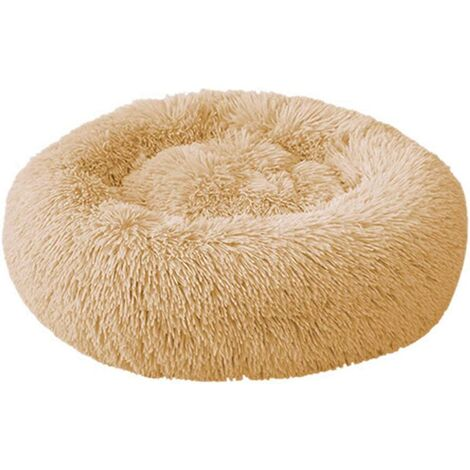 Round Dog and Cat Basket Plush Soft and Comfortable Donut Cat Warm Fluffy Puppy Bed for Winter Sleeping 60cm