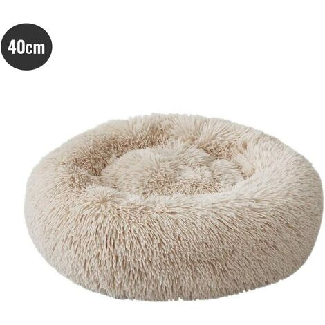 Round Dog and Cat Basket Soft and Comfortable Plush Donut Cat Soft Warm Puppy Bed for Winter Sleeping