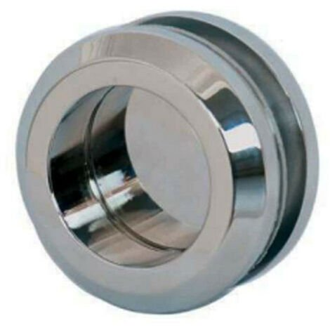 Round double bowl handle for glass door - Diameter 58 mm - Shiny Chrome