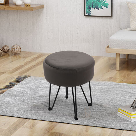 Round Dressing Table Stool Grey Velvet Piano Chair Makeup Seat Wire Legs
