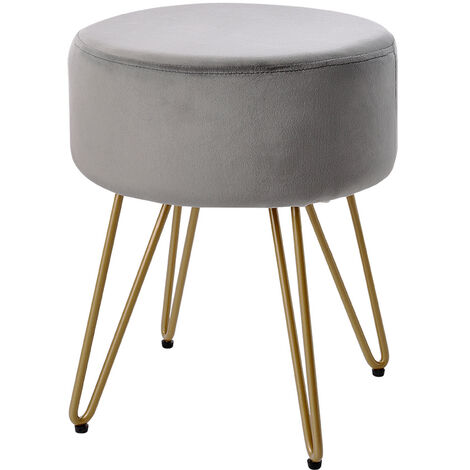 Round Dressing Table Stool Soft Fluffy/Velvet Piano Chair Makeup Seat Wire Legs