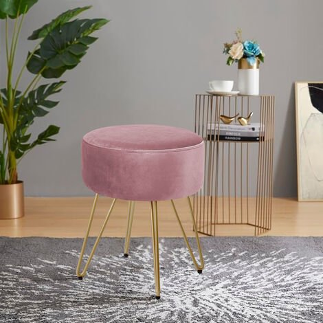 """main image of """"Round Dressing Table Stool Soft Fluffy/Velvet Piano Chair Makeup Seat Wire Legs Grey"""""""