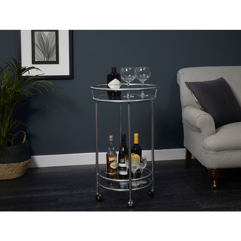 Image of Round Drinks Trolley- Silver Powder Coat