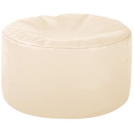 Round Faux Leather Footstool - 38cm x 20cm, Bean Bag Pouffe