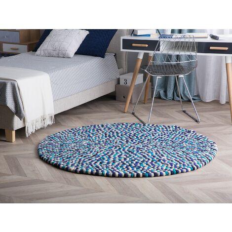 Round Felt Ball Area Rug ø 140 cm Multicolour Blue AMDO
