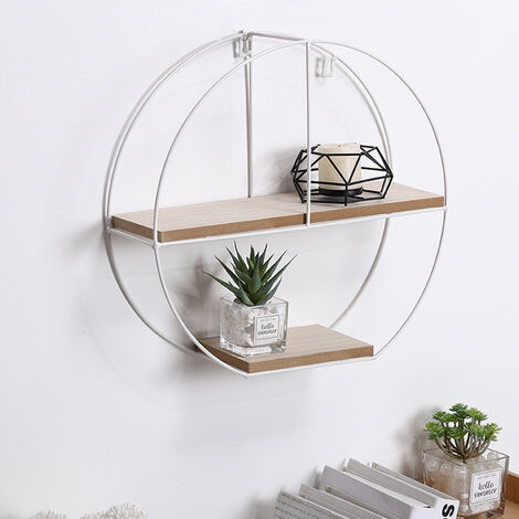 Round Floating Wall Display Shelf 3 Compartments Metal