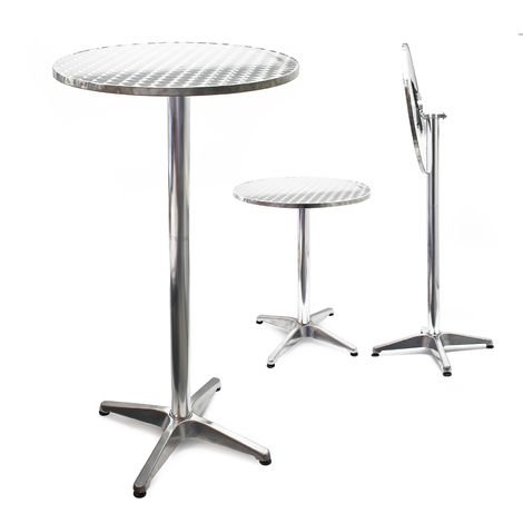 Round Foldable Aluminium Outdoor Table with Ø60cm and Adjustable Height 74cm or 114cm
