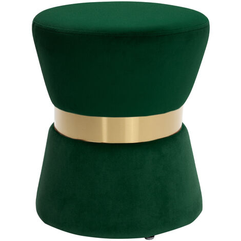 Round Footstool Ottoman Pouffe Seat Foot Stool In Plush Velvet Green