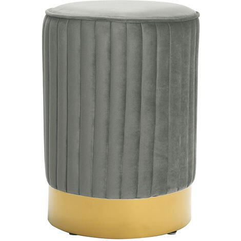 Round Footstool Ottoman Stool Gold Pouffe Dressing Stool Seat Grey