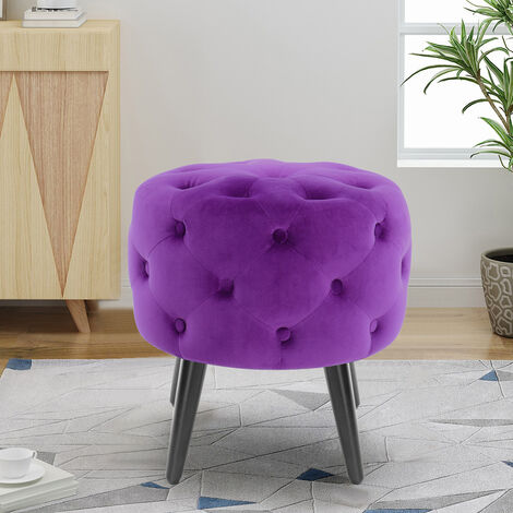 Round Footstool Velvet Ottoman Footrest Chair Home Living Room Bedroom Stool