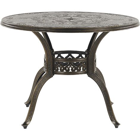 Round Garden Dining Table ø 100 cm Brown SAPRI