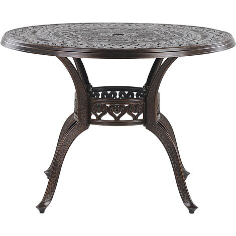 Round Garden Dining Table ø 102 cm Brown SALENTO