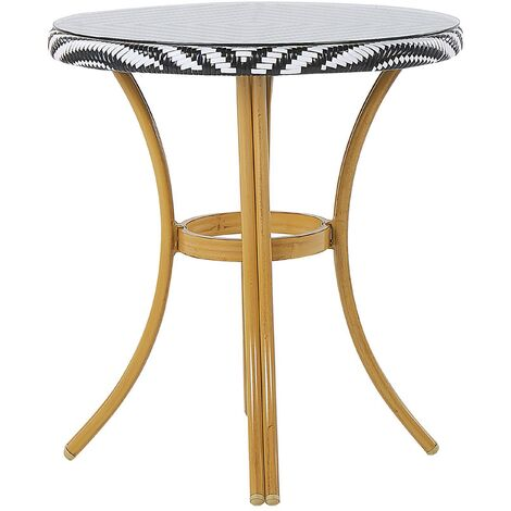 Round Garden Table ø 70 cm Black and White Pattern RIFREDDO