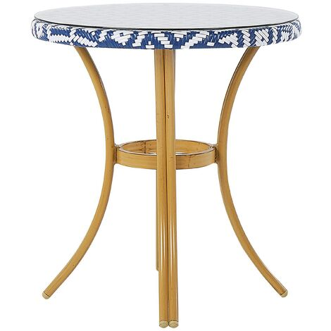 Round Garden Table ø 70 cm Blue and White Pattern RIFREDDO