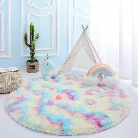 "main image of ""Round Girls Room Rug, Rainbow Kids Room Rug, Fluffy Pink Circular Rug for Girl's Room, Princess Castle Fur Rug, Cute Shaggy Bedroom Decor, Colorful Nursery Rugs, 4 feet"""