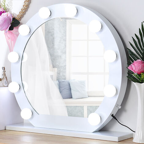 Round Hollywood LED Vanity Mirror with 10 Dimmable Bulbs