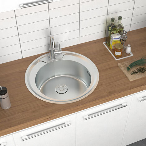 """main image of """"Round Inset Stainless Steel Sink - Single Bowl"""""""