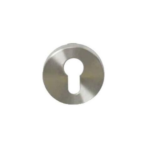 Round keyed roses I - matt brushed stainless steel finish - diameter 54mm x2
