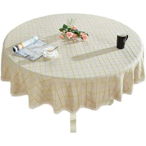 """Round Lace Lace Cotton Cotton Lace Lace Round Table for Kitchen Kitchen Table Decoration, 36 """"- Round, Beige"""