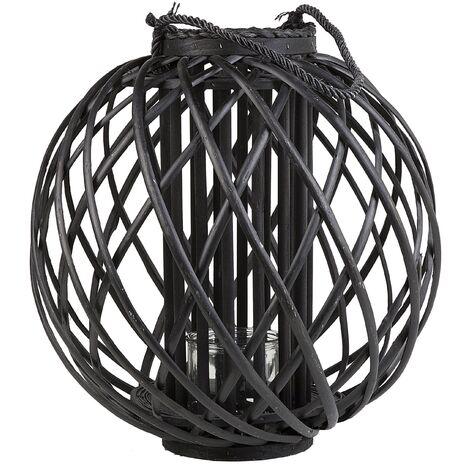Round Lantern Black Wood SAMOA
