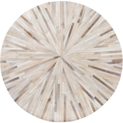 Round Leather Area Rug ø 140 cm Beige SIMAV