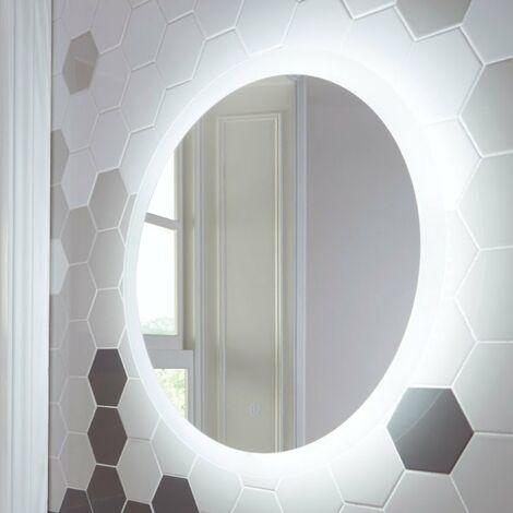 Round LED Bathroom Mirror Demister Pad Colour Change 800mm x 800mm Mains Power