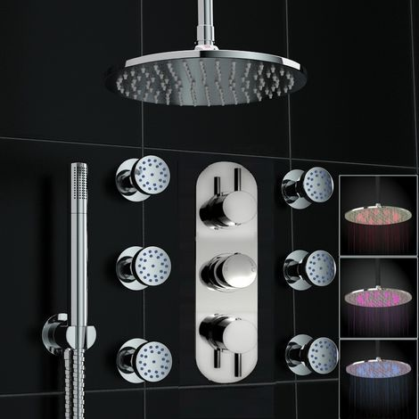 Round Led Concealed Thermostatic Ceiling Valve Mixer Shower Massage Body Jets