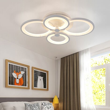 Round LED Dimmable Chandelier Ceiling Light With Remote, 6 Head