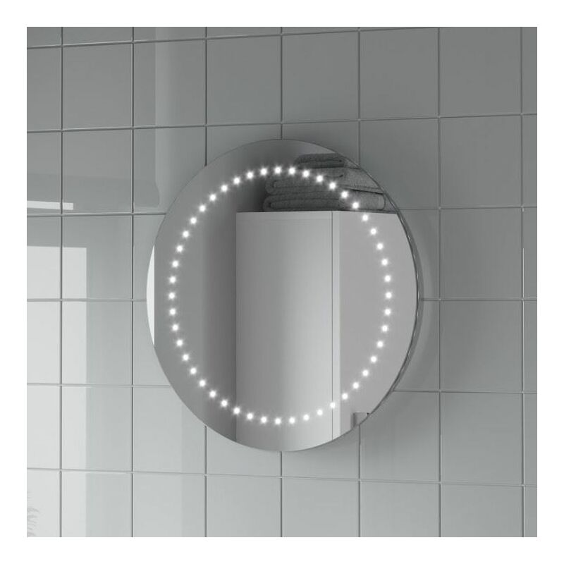 Round Led Illuminated Bathroom Mirror Modern Light Battery