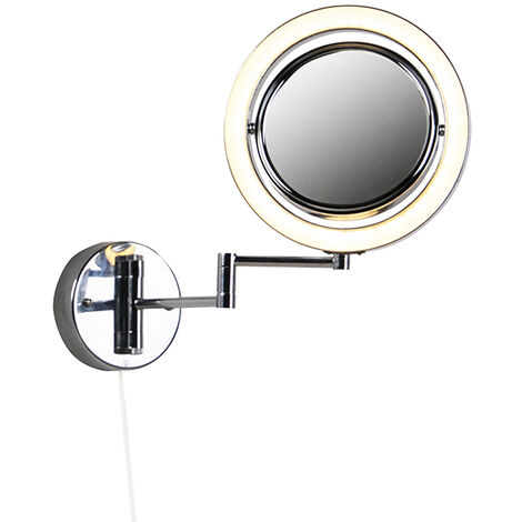 Round make-up wall mirror chrome pull cord switch x3 - Vicino