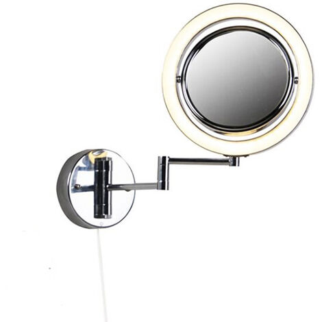 Round make-up wall mirror chrome steel pull cord switch x2 - Vicino